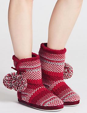 Fairisle Knit Slipper Boots, MULBERRY MIX, catlanding