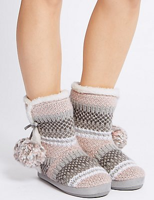 Fairisle Knit Slipper Boots, GREY MIX, catlanding