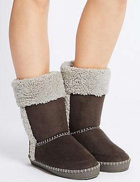 Fur Slipper Boots, CHOCOLATE, catlanding