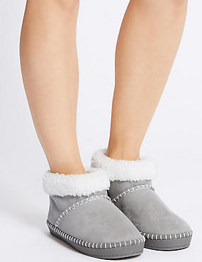 Fur Slipper Boots, GREY, catlanding