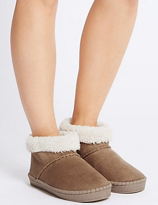 Fur Slipper Boots, TAN, catlanding
