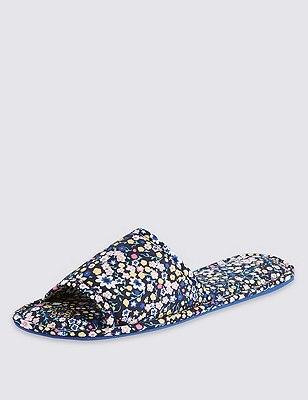 Open Toe Floral Flattie Mule Slippers, BLUE MIX, catlanding