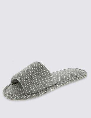 Open Toe Spotted Mule Slippers, GREY, catlanding