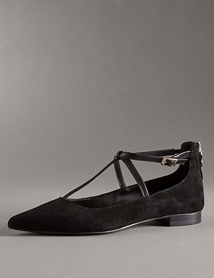 Suede Pointed Strap Pumps with Insolia Flex® , BLACK MIX, catlanding