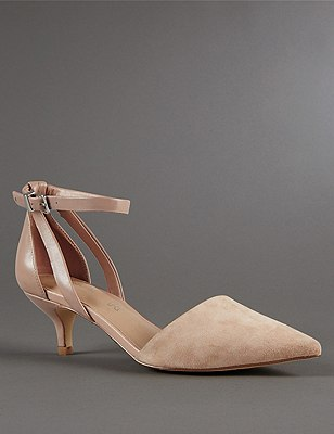 Stain Away™ Suede Strappy Pointed Toe Court Shoes with Insolia®, MINK MIX, catlanding