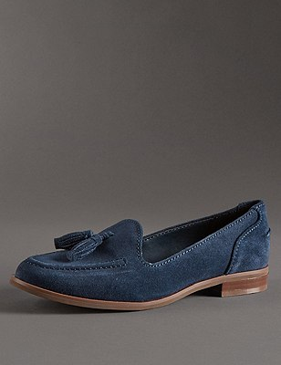 Stain Away™ Suede Tassel Loafers with Insolia Flex®, NAVY MIX, catlanding