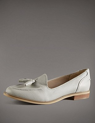 Leather Tassel Loafers with Insolia Flex®, LIGHT GREY, catlanding