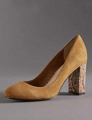 Stain Away™ Suede Block Heel Court Shoes with Insolia®, TAN, catlanding