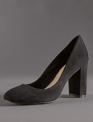 Stain Away™ Suede Block Heel Court Shoes with Insolia®, BLACK, catlanding
