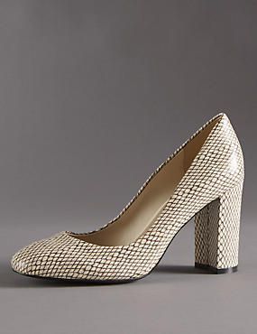 Leather Faux Snakeskin Print Court Shoes with Insolia®
