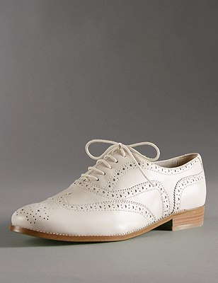 Leather Lace Up Flat Brogue Shoes with Insolia Flex®, PUTTY, catlanding