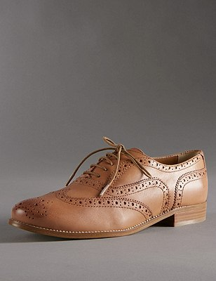Leather Lace Up Flat Brogue Shoes with Insolia Flex®, TAN, catlanding