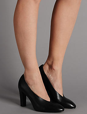 Leather Block Heel High Cut Court Shoes, BLACK, catlanding
