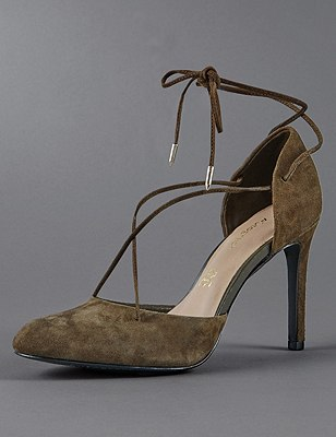 Stain Away™ Suede Stiletto High Heel Ghillie Court Shoes with Insolia®, KHAKI, catlanding