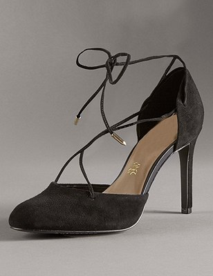 Stain Away™ Suede Stiletto High Heel Ghillie Court Shoes with Insolia®, BLACK, catlanding