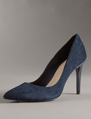 Stain Away™ Suede Pointed Toe Court Shoes with Insolia®, NAVY, catlanding