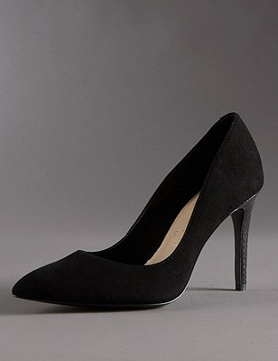 Stain Away™ Suede Pointed Toe Court Shoes with Insolia®, BLACK, catlanding