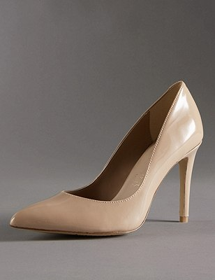 Leather Stiletto Pointed Toe Court Shoes with Insolia®, NUDE, catlanding