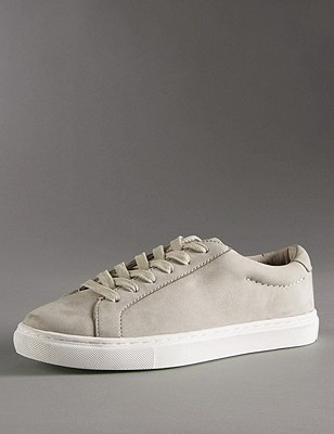 Leather Lace Up Trainers with Insolia Flex®, GREY, catlanding