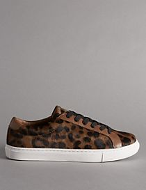 Leather Leopard Print Lace-up Trainer