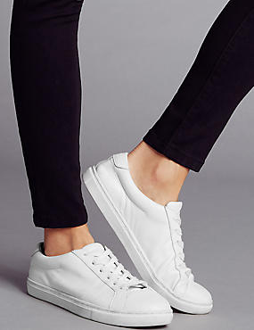 Leather Lace Up Trainers with Insolia Flex®, WHITE, catlanding