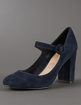 Suede Block Heel Court Shoes with Insolia®