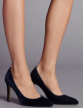 High Heel Court Shoes with Insolia®, BLUE, catlanding