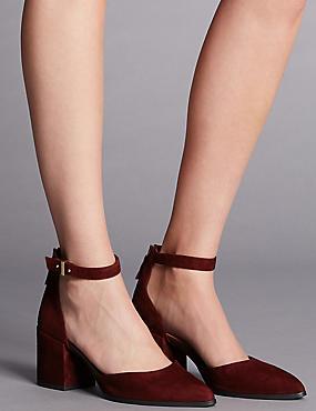 Block Heel Court Shoes with Insolia®, RUSSET, catlanding