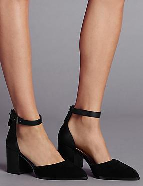 Block Heel Court Shoes with Insolia®, BLACK, catlanding