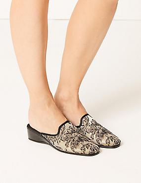 Wedge Heel Floral Print Mule Slippers, SILVER MIX, catlanding
