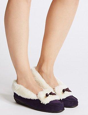 Fur Moccasin Slippers, PURPLE, catlanding