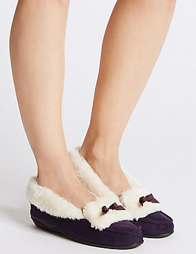 Fur Moccasin Slippers, PURPLE, catlanding