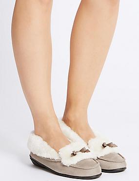 Fur Moccasin Slippers, MINK, catlanding