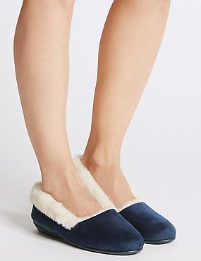 Fur Ballerina Slippers, NAVY, catlanding