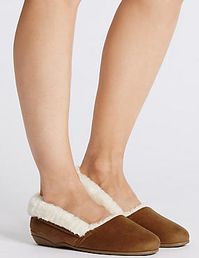 Fur Ballerina Slippers, TAN, catlanding