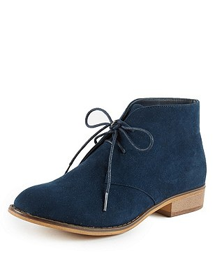 Faux Suede Lace Up Desert Boots with Insolia Flex®, NAVY, catlanding