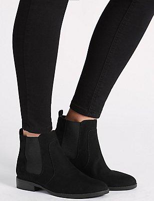Block Heel Chelsea Ankle Boots, BLACK, catlanding