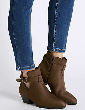 Block Heel Western Trim Ankle Boots with Insolia®, KHAKI, catlanding