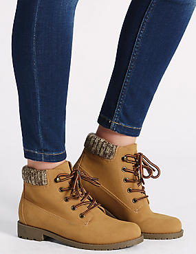 Knitted Collar Ankle Boots with Insolia®, HONEY, catlanding