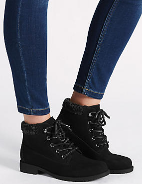 Knitted Collar Ankle Boots with Insolia®, BLACK, catlanding