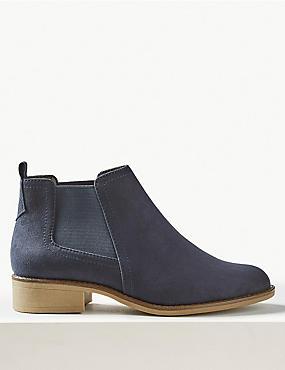 Block Heel Chelsea Ankle Boots, NAVY, catlanding