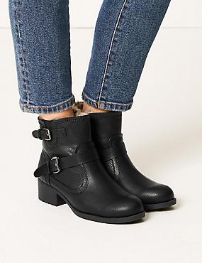 Block Heel Biker Ankle Boots, BLACK, catlanding