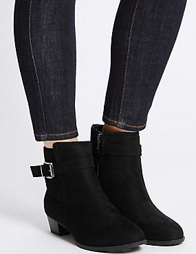 Wide Fit Block Heel Strap Ankle Boots, BLACK, catlanding