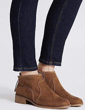 Block Heel Tie Back Ankle Boots , SAND, catlanding