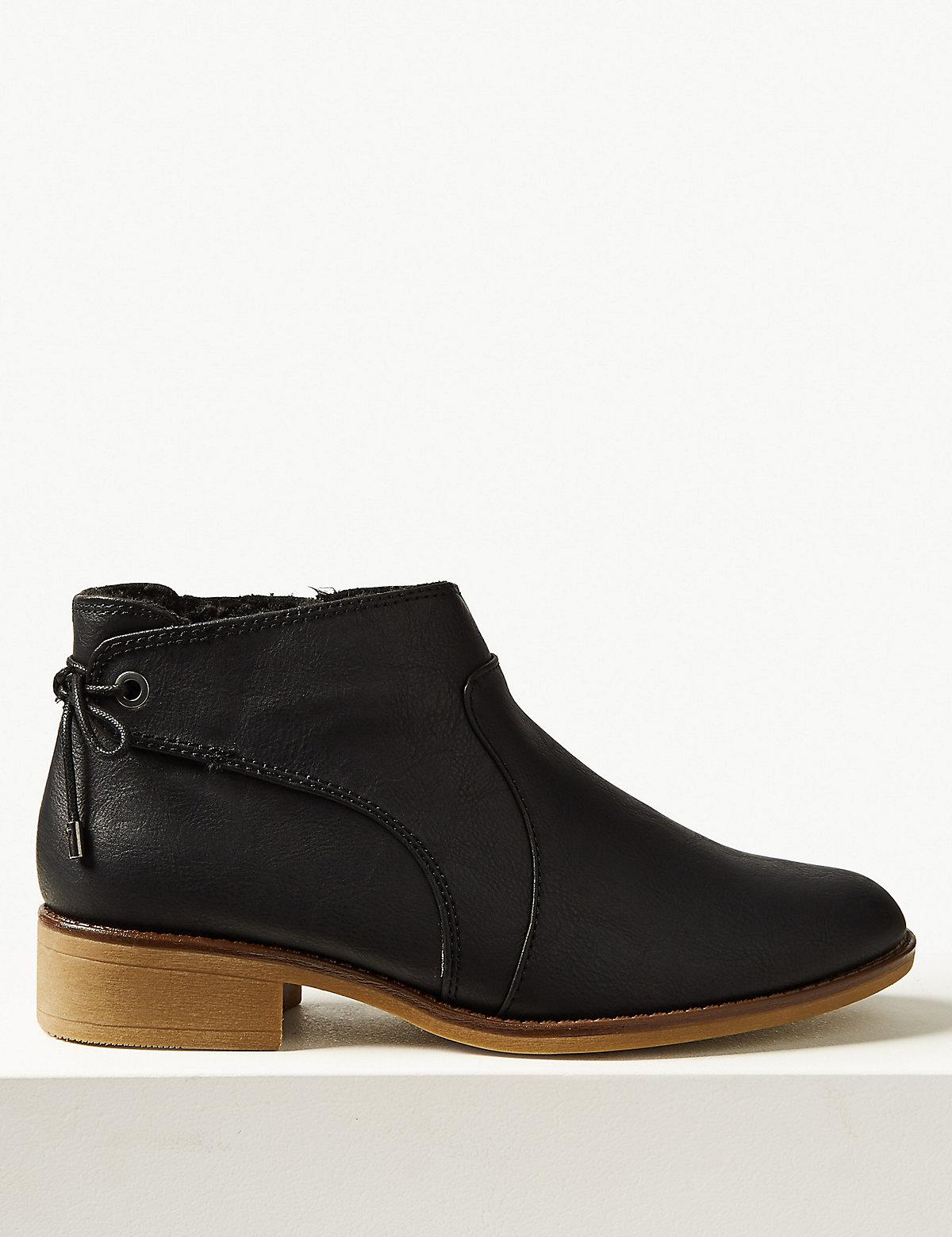 Ботинки на блочном каблуке с молнией, черные