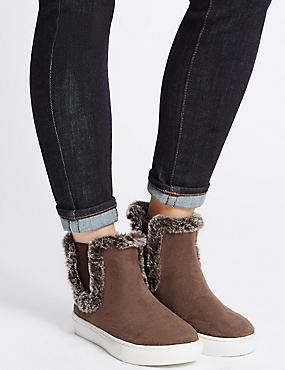 Fur Trim Ankle Boots, BROWN, catlanding
