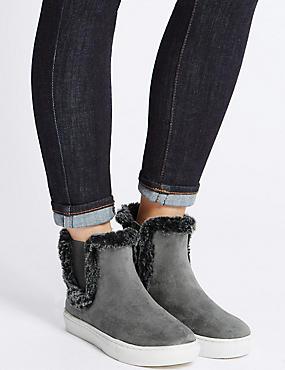 Fur Trim Ankle Boots, GREY, catlanding