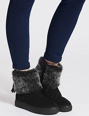 Side Zip Tassel Faux Fur Ankle Boots, BLACK, catlanding