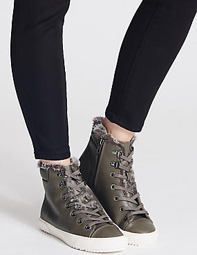 Side Zip Fur Ankle Boots, DARK GREY, catlanding