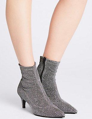 Kitten Heel Side Zip Ankle Boots, SILVER, catlanding